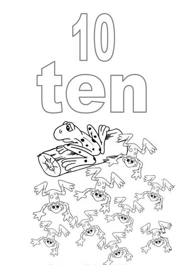 Tranh tô màu sô đếm tiếng Anh - chữ số 10