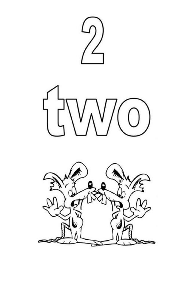 Tranh tô màu sô đếm tiếng Anh - chữ số 2