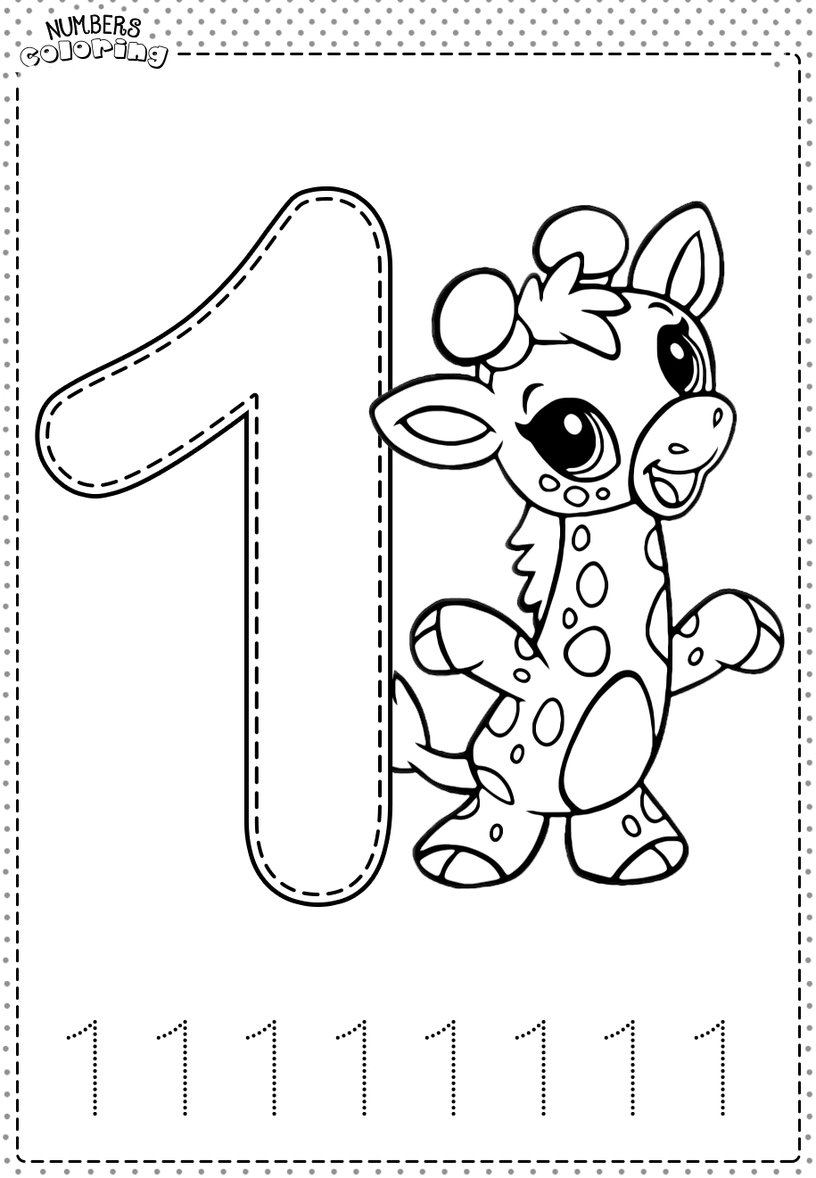 Tranh tô màu và tập tô Số 1 - 1 con hươu cao cổ