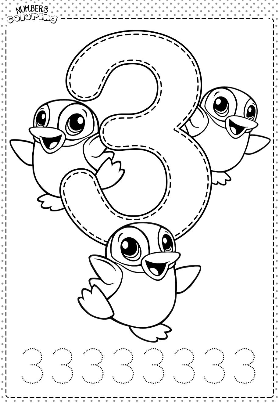 Tranh tô màu và tập tô Số 3 - 3 con chim cánh cụt