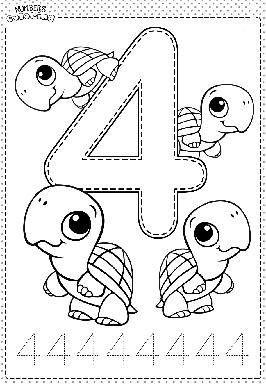 Tranh tô màu và tập tô Số 4 - 4 con rùa