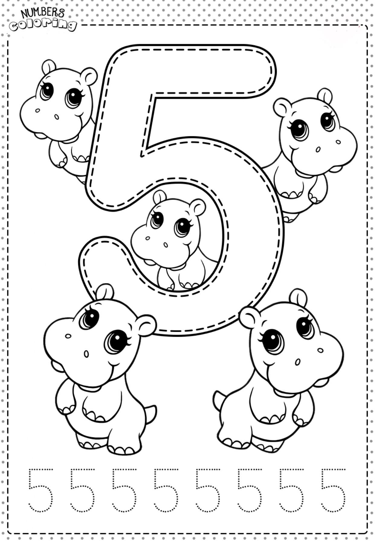 Tranh tô màu và tập tô Số 5 - 5 con hà mã