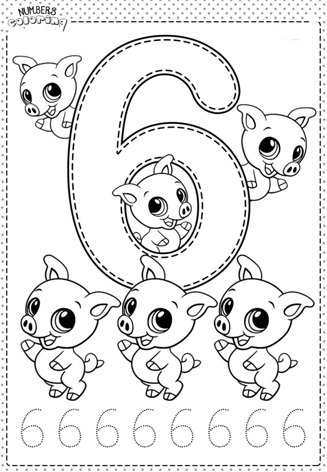 Tranh tô màu và tập tô Số 6 - 6 con heo