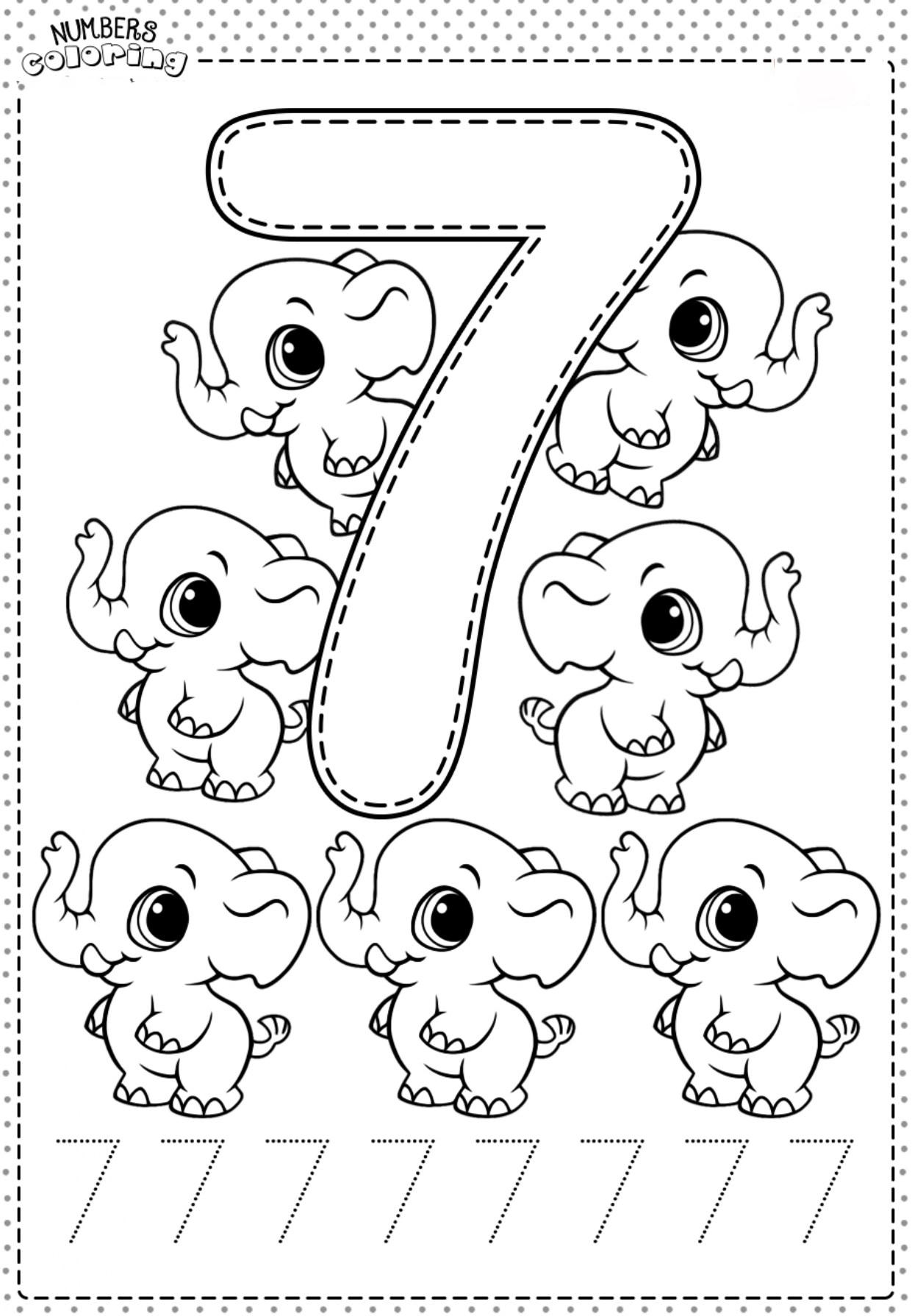 Tranh tô màu và tập tô Số 7 - 7 con voi