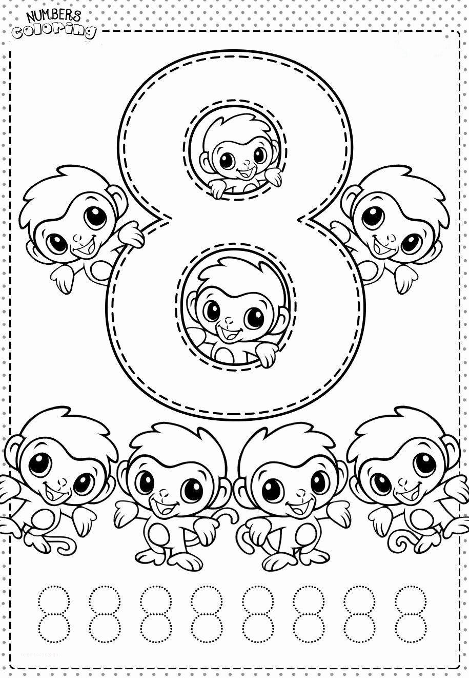 Tranh tô màu và tập tô Số 8 - 8 con khỉ
