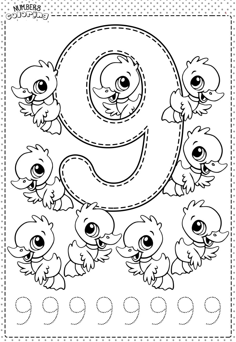Tranh tô màu và tập tô Số 9 - 9 con vịt