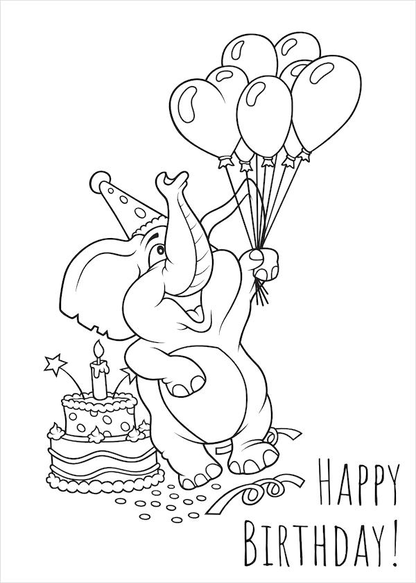 Tranh tô màu voi con và chiếc bánh kem