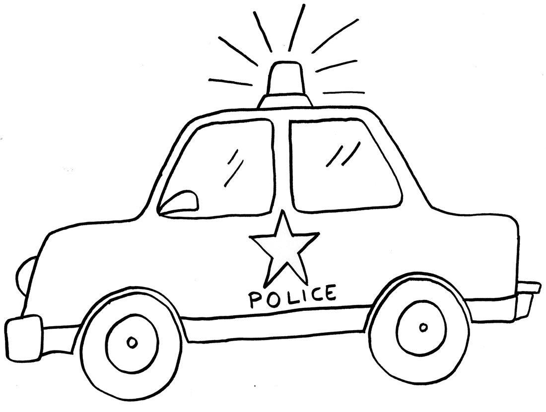 Tranh tô màu xe cảnh sát cho bé bắt đầu tập tô