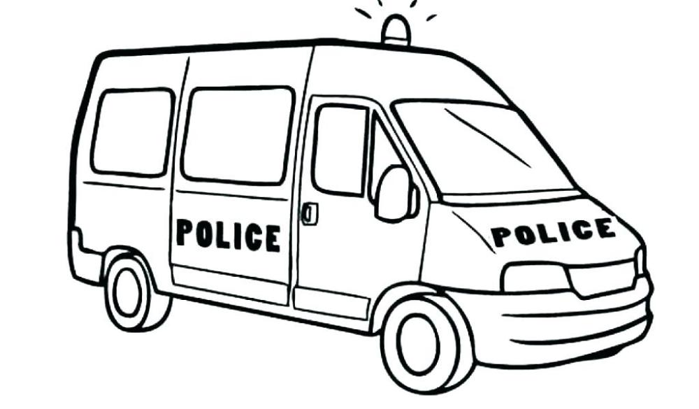Tranh tô màu xe cảnh sát chở lính đặc nhiệm