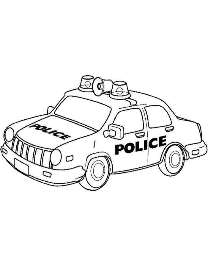 Tranh tô màu xe cảnh sát cực dễ thương