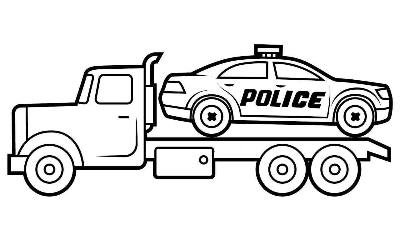 Tranh tô màu xe cảnh sát cứu hộ