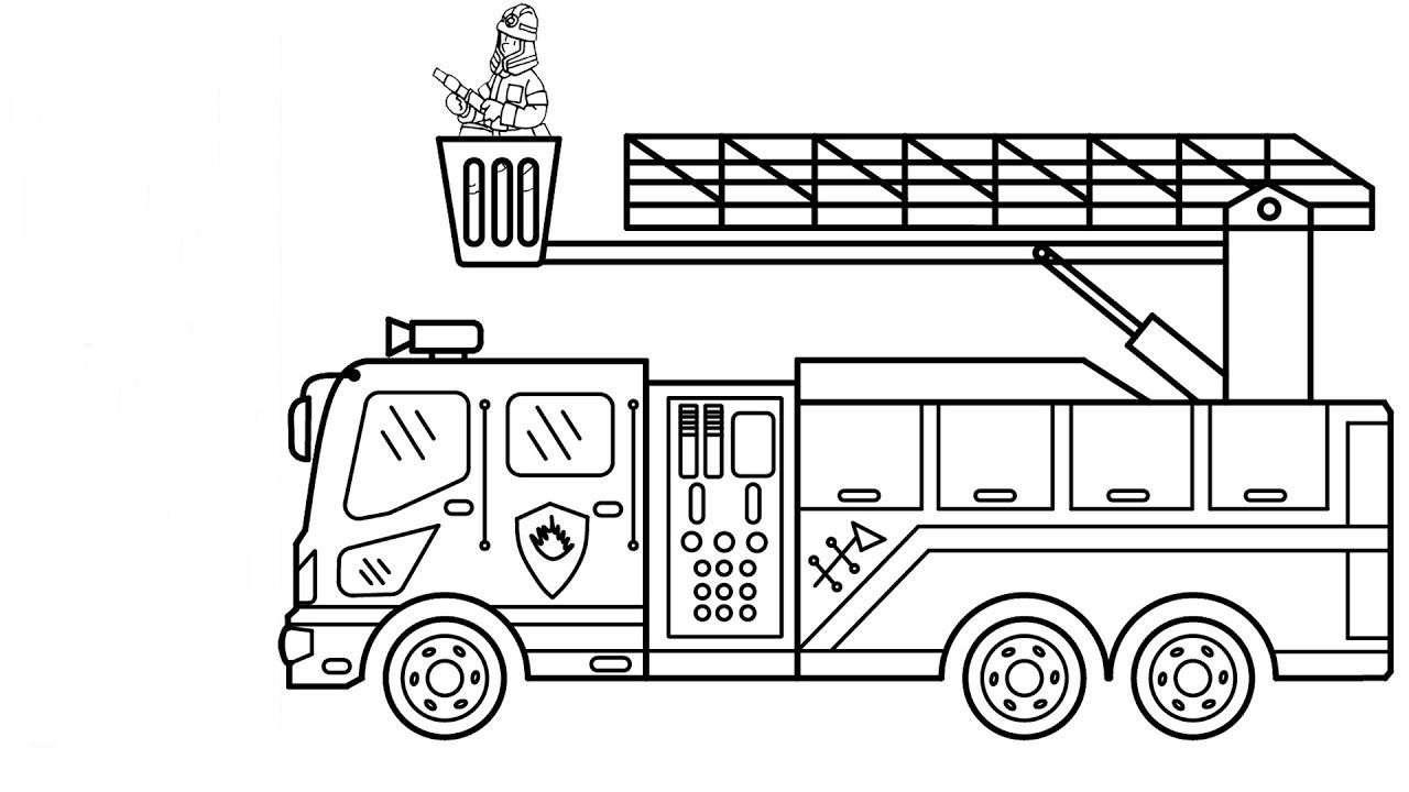 Tranh tô màu xe cảnh sát cứu hỏa đơn giản