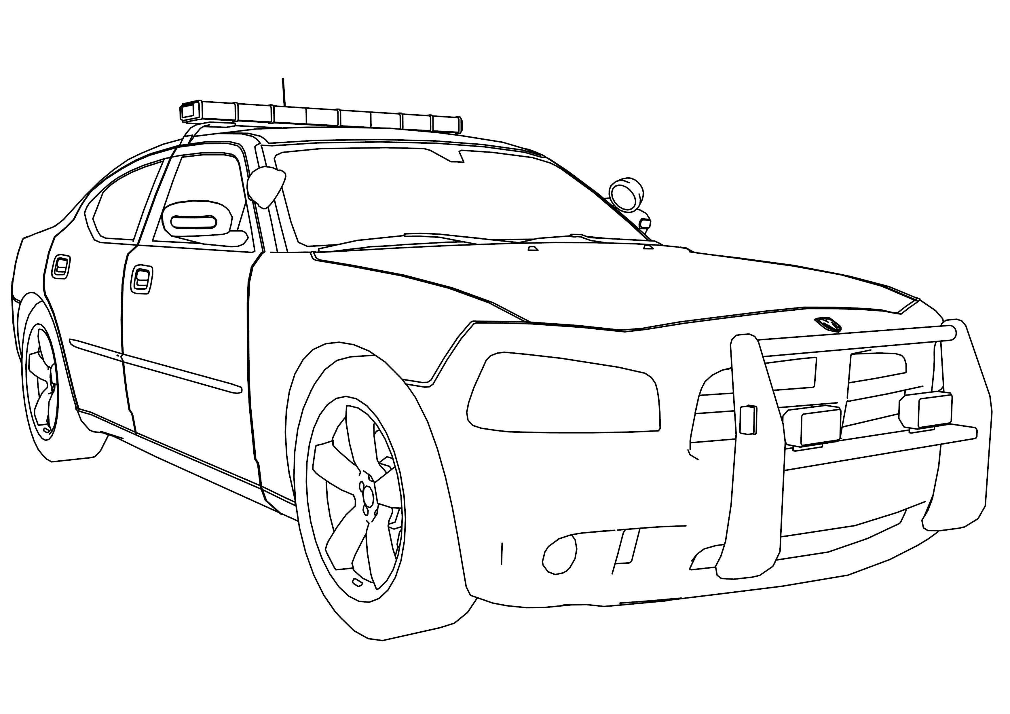 Tranh tô màu xe cảnh sát đẹp nhất