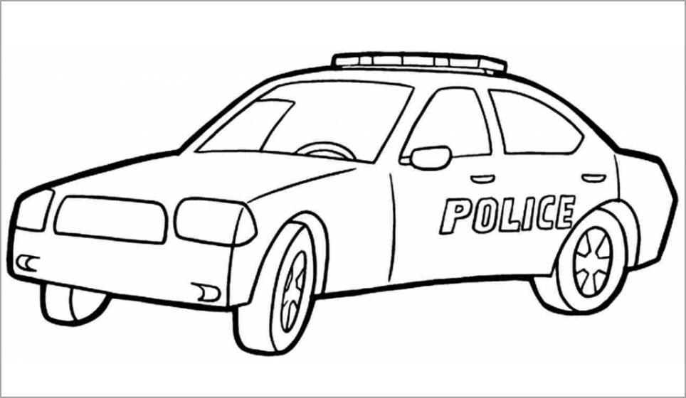 Tranh tô màu xe cảnh sát đơn giản, dễ tô