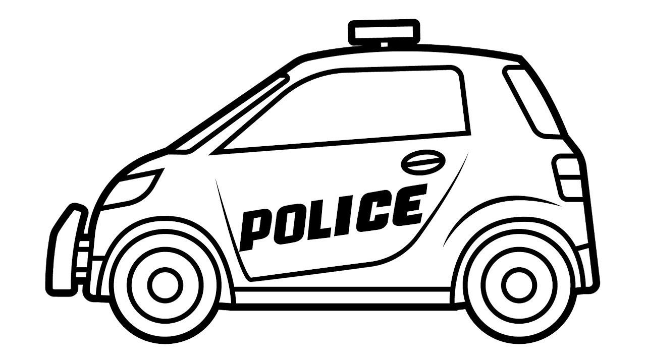 Tranh tô màu xe cảnh sát đơn giản
