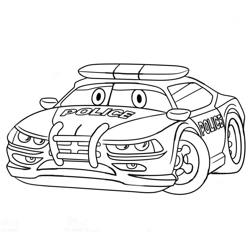 Tranh tô màu xe cảnh sát hoạt hình