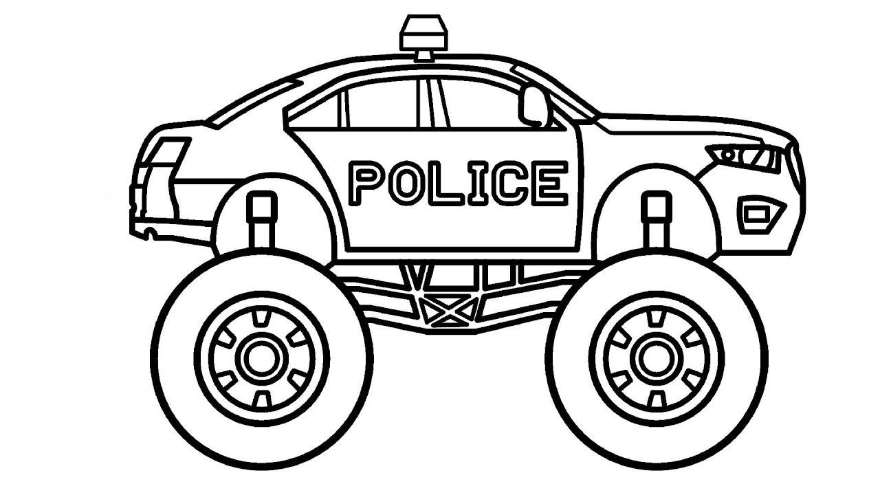 Tranh tô màu xe cảnh sát với bánh xe siêu to