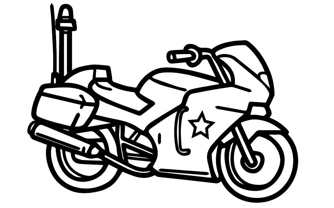 Tranh tô màu xe mô tô cảnh sát đơn giản