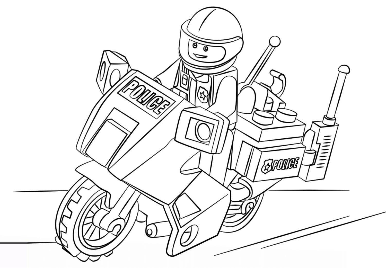 Tranh tô màu xe mô tô cảnh sát Lego