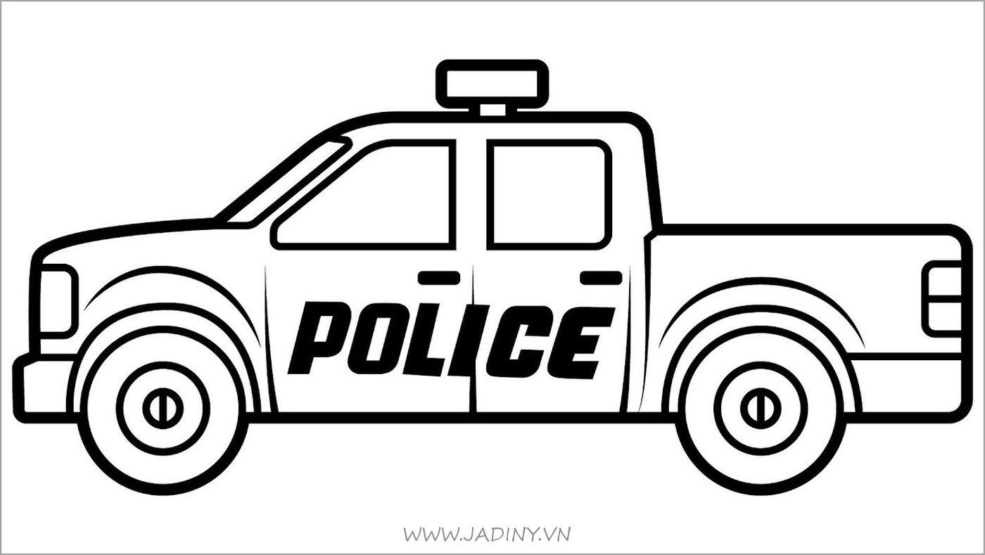 Tranh tô màu xe ô tô cảnh sát bán tải