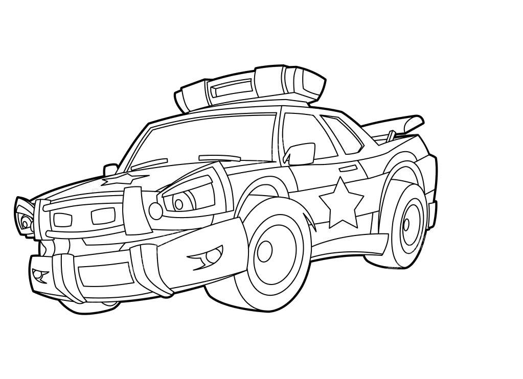 Tranh tô màu xe ô tô cảnh sát chất nhất