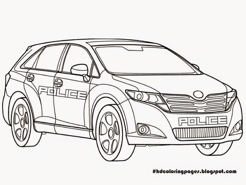Tranh tô màu xe ô tô cảnh sát cho bé