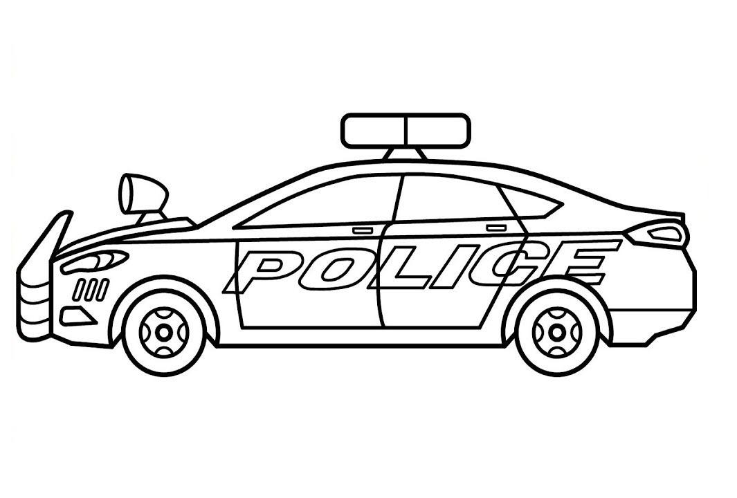 Tranh tô màu xe ô tô cảnh sát đẹp, đơn giản