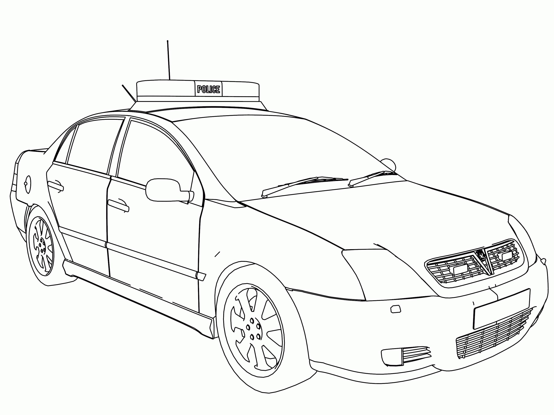 Tranh tô màu xe ô tô cảnh sát đẹp nhất