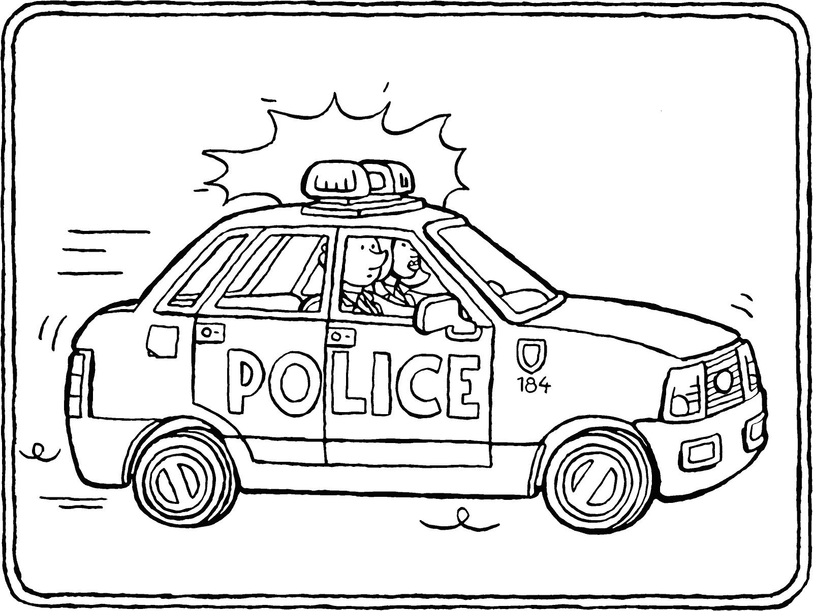 Tranh tô màu xe ô tô cảnh sát đẹp
