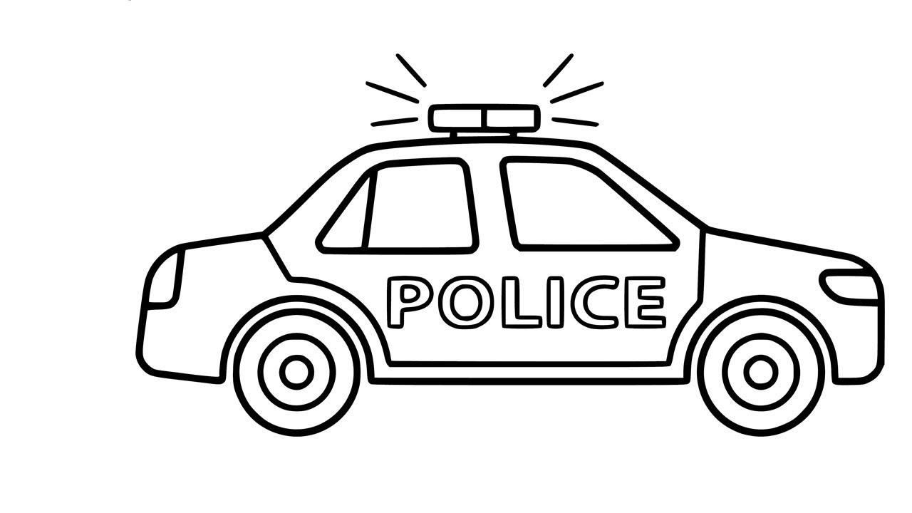 Tranh tô màu xe ô tô cảnh sát đơn giản