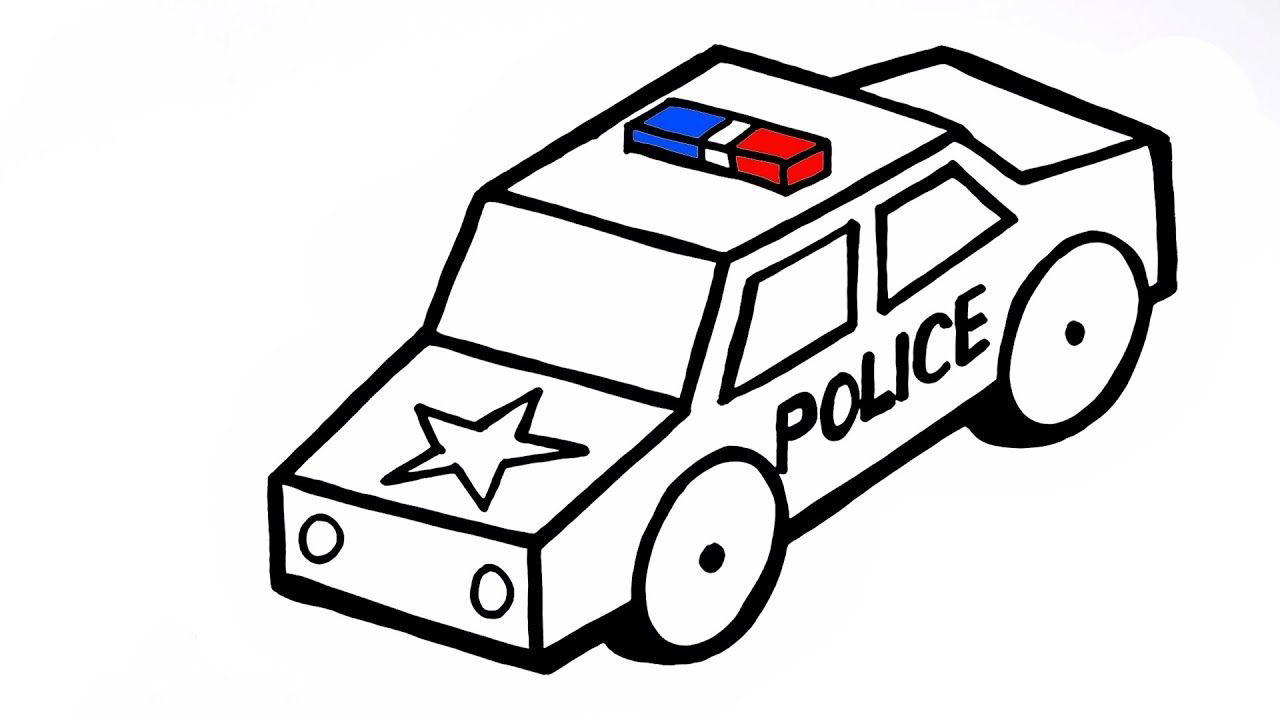Tranh tô màu xe ô tô cảnh sát hình khối đơn giản