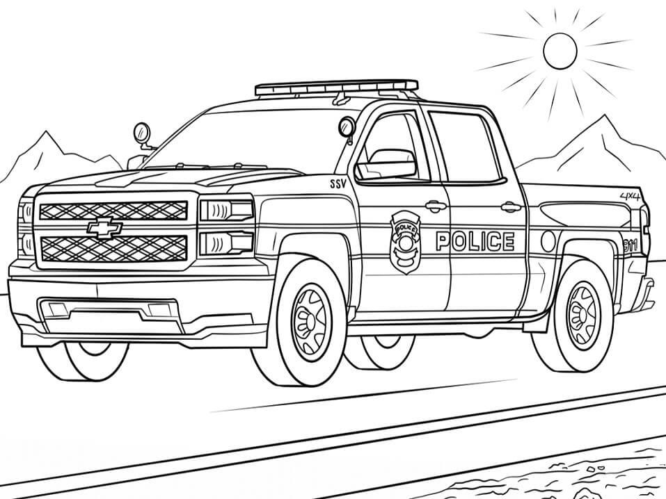 Tranh tô màu xe tải cảnh sát đẹp nhất