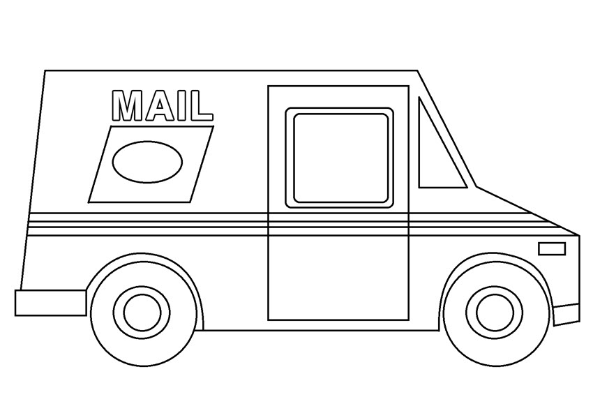 Hình tô màu xe chở thư