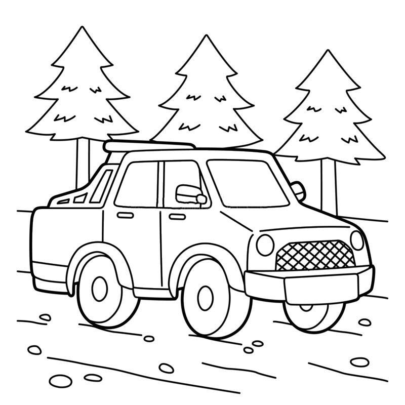 Hình tô màu xe tải đơn giản và dễ thương