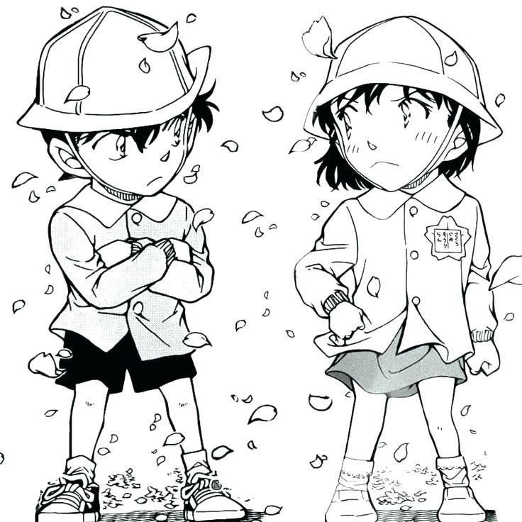Tranh tô màu cặp đôi Ran và Conan