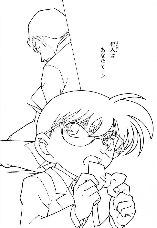 Tranh tô màu Conan đang phá án