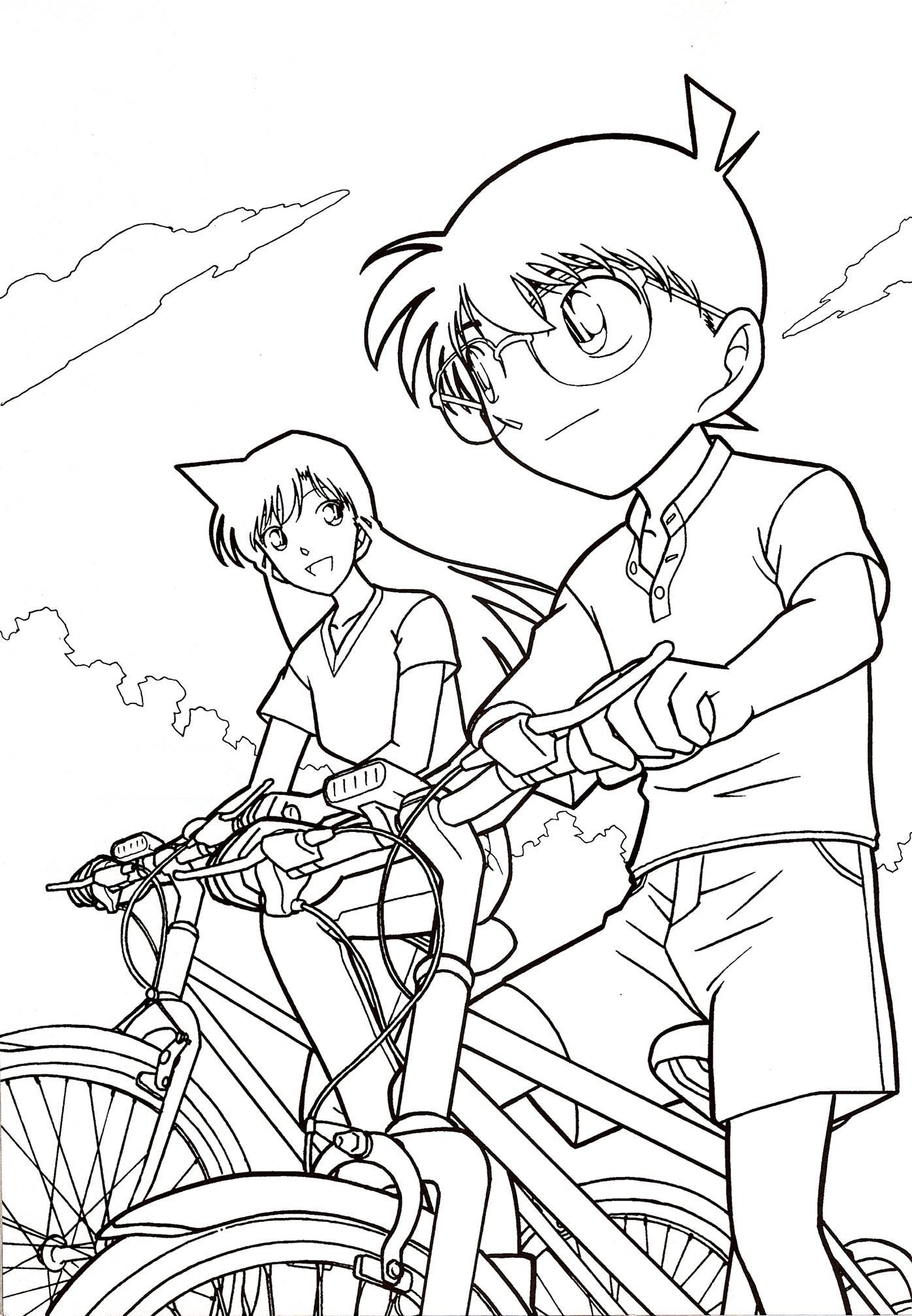 Tranh tô màu Conan đi xe đạp