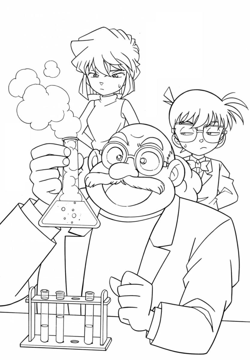Tranh tô màu Conan và bác tiến sĩ