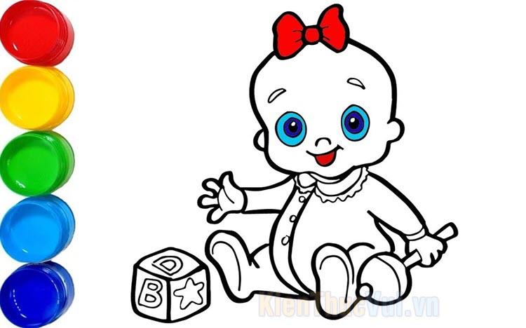 Tranh tô màu em bé