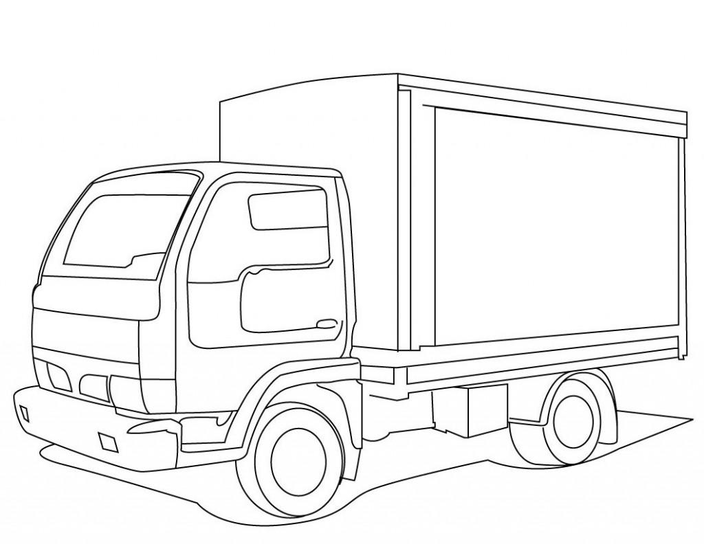 Tranh tô màu ô tô tải đơn giản