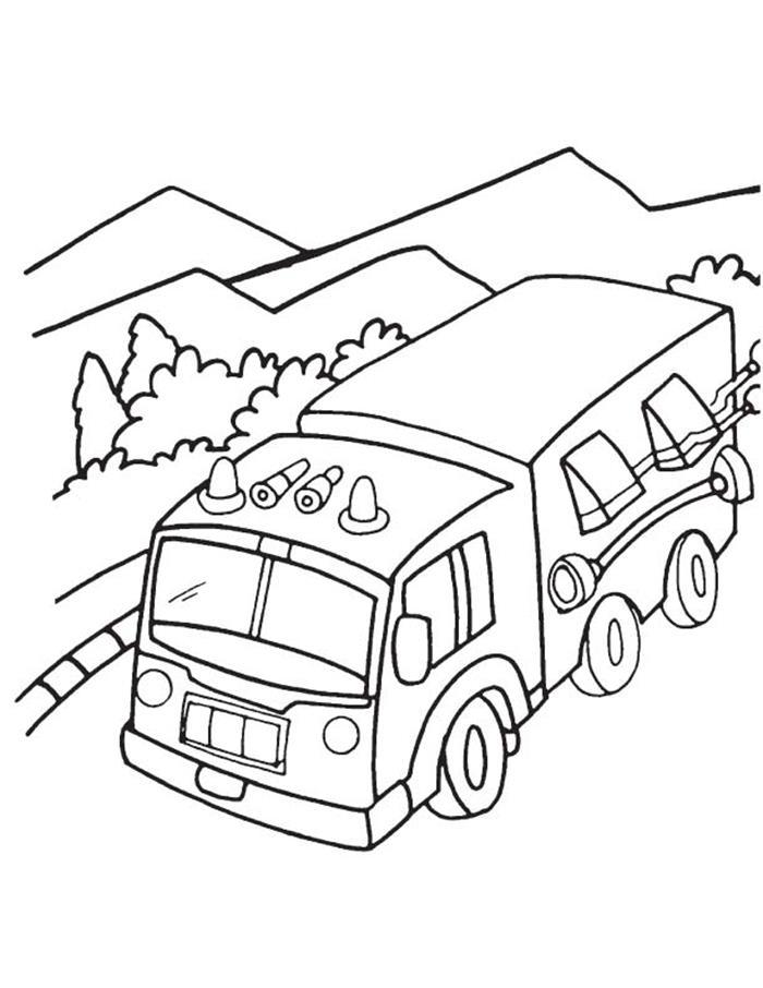 Tranh tô màu xe tải cho bé đẹp nhất