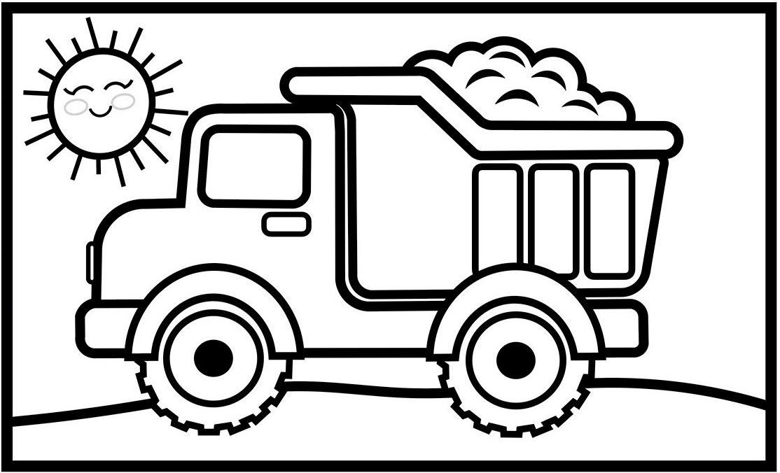 Tranh tô màu xe tải chở cát
