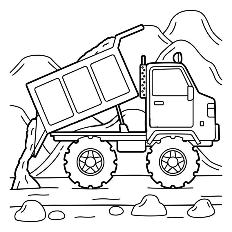 Tranh tô màu xe tải công trường