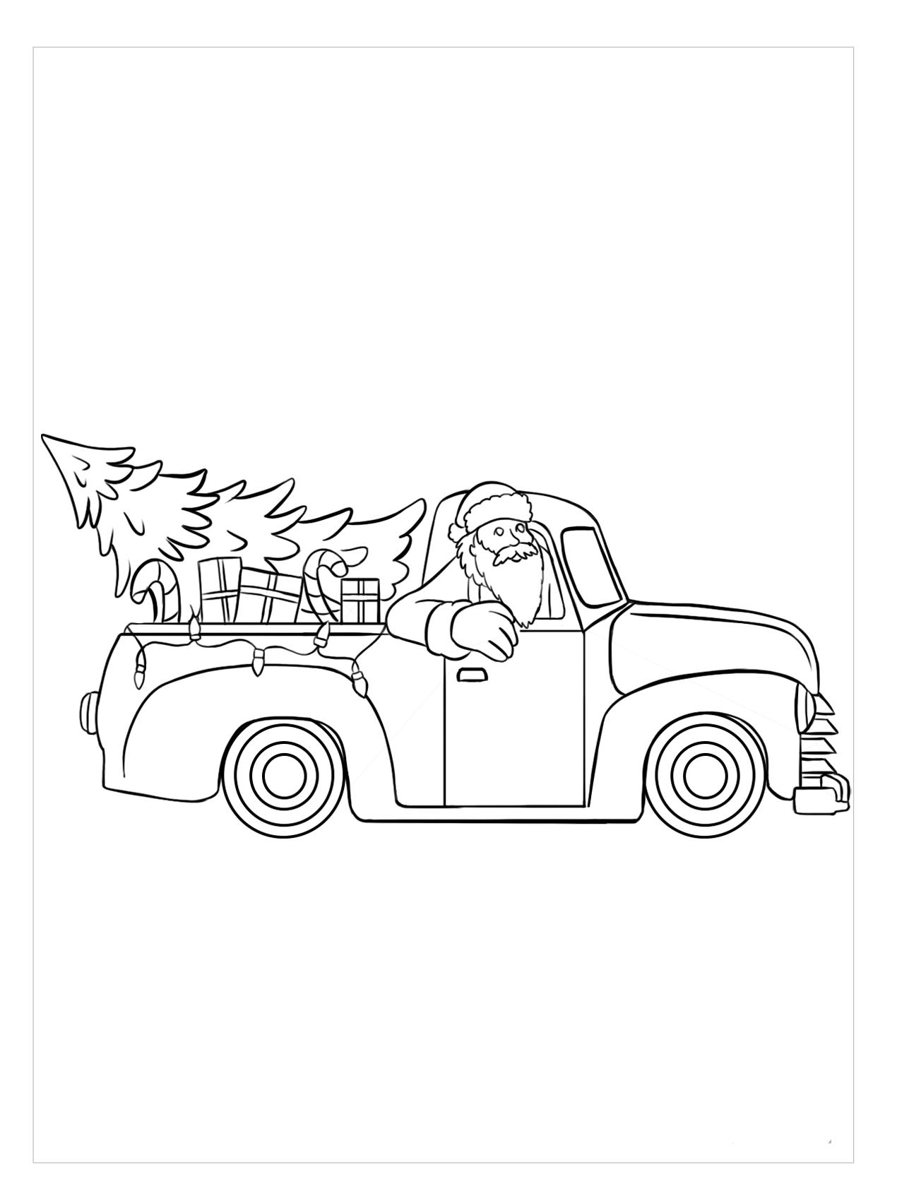 Tranh tô màu xe tải giáng sinh