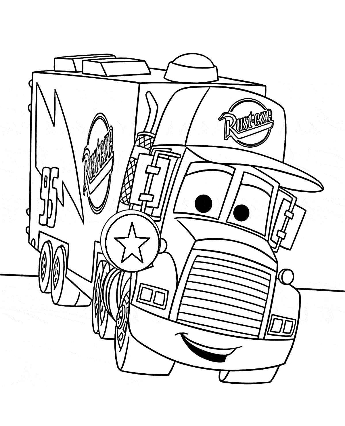 Tranh tô màu xe tải hoạt hình dễ thương