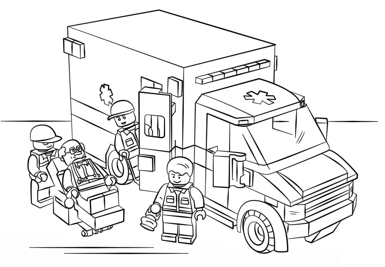 Tranh tô màu xe tải Lego