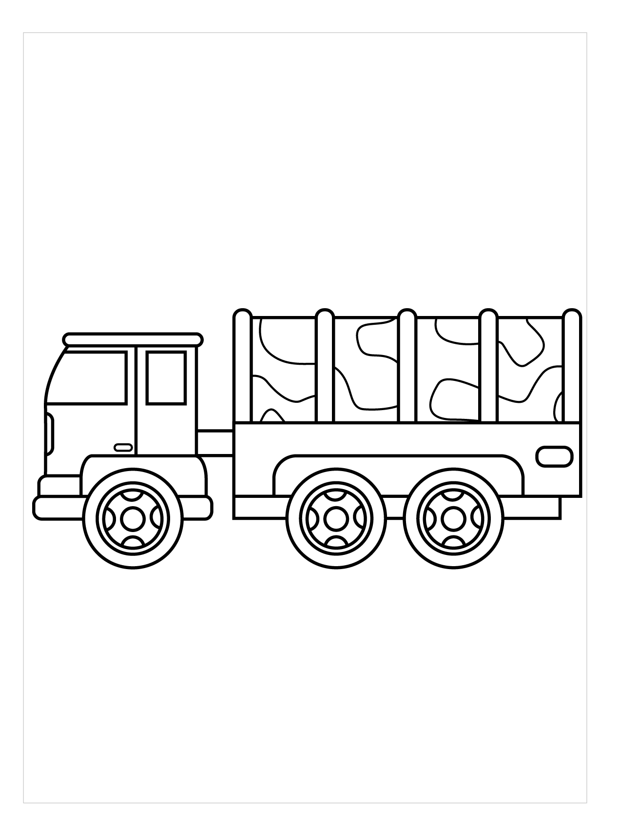 Tranh tô màu xe tải quân đội