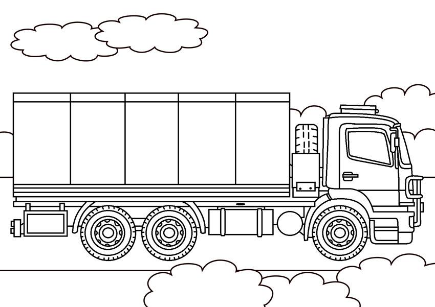 Tranh tô màu xe tải thành cao
