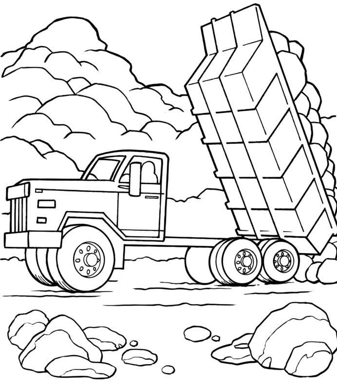 Tranh tô màu xe tải tự đổ