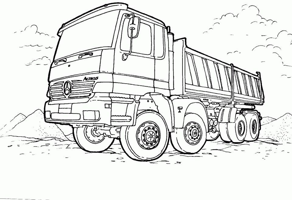Tranh tô màu xe tải xây dựng